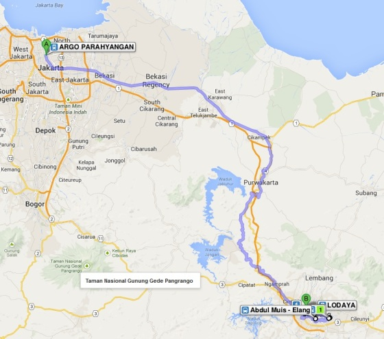 Route map to Bandung